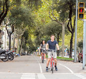 Cyclists on the streets of Barcelona Royalty Free Stock Photography