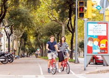 Cyclists on the streets of Barcelona Stock Photos