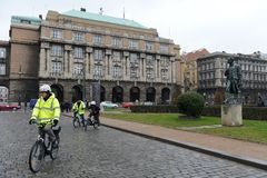 The cyclists on the streets of Prague. Royalty Free Stock Photos