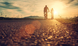 Cyclists are on the sunset road Royalty Free Stock Images