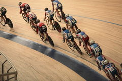 Cyclists to ride fast in a curve  top view Stock Photography