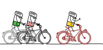 Cyclists & Tour de France. Hand drawn cartoon characters stock illustration