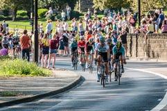Cyclists in Tour de Yorkshire 2018 stock photos