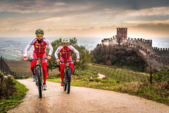 Cyclists train on the hills surrounding the castle of Soave. Stock Image