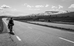 Cyclists travel through the highlands of Norway stock images