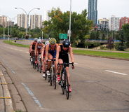 Cyclists At Triathlon Royalty Free Stock Images