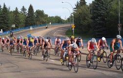 Cyclists At Triathlon Stock Photos