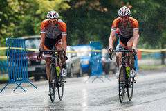 Cyclists from various teams cycle Stock Image