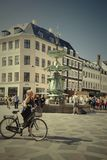 Cyclists waiting for green light in central Copenhagen Denmark E Royalty Free Stock Image