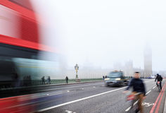 Cyclists on Westminster Bridge, London. Royalty Free Stock Images