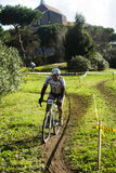 Cyclo cross competition in a park Royalty Free Stock Image