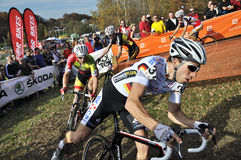 Cyclo Cross UCI Czech Republic 2013. TABOR, CZECH REPUBLIC - OCTOBER 26, BINA Martin 30 and WALSLEBEN Philipp 37 in Cyclo-cross race UCI WORLD CUP Men ELITE on Stock Photo