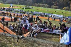 Cyclo Cross UCI Czech Republic 2013. TABOR, CZECH REPUBLIC - OCTOBER 26, VAN DER HAAR Lars 18 and WALSLEBEN Philipp 37 in Cyclo-cross race UCI WORLD CUP Men Stock Image