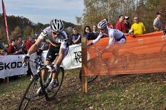 Cyclo Cross UCI Czech Republic 2013. TABOR, CZECH REPUBLIC - OCTOBER 26, WALSLEBEN Philipp 37 and VAN DER HAAR Lars 18 in Cyclo-cross race UCI WORLD CUP Men Royalty Free Stock Images