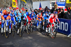 Cyclo Cross World Championship 2010. TABOR, CZECH REPUBLIC - JANUARY 30, Start Men under 23 Cyclo-Cross World Championship on January 30, 2010 in Tabor, Czech royalty free stock images