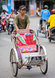 Cyclo driver in Hue,  Vietnam Stock Images