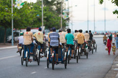Cyclo drivers drive tourists Royalty Free Stock Photography