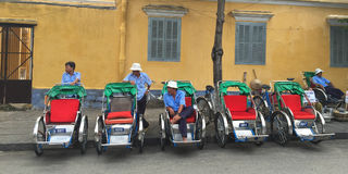 Cyclo drivers waiting for passenger Royalty Free Stock Image