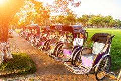 Cyclo & x28;pedicab& x29; Beautiful Color in Hue Province. Vietnam Royalty Free Stock Image