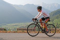 A cyclo-tourist in Pyrenees Stock Images