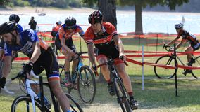 Cyclocross Cycling Race. Cyclocross extreme cycling on the challenging race terrain Royalty Free Stock Photography