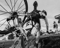 Cyclocross - Rider Crashing B&W Stock Images