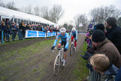 Cyclocross: Sven Nys and Kevin Pauwels. Belgian cyclocross riders Sven Nys and Kevin Pauwels on the world championship in Koksijde 29-1-12 Royalty Free Stock Images