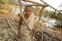 After the cyclone. AN OLD WOMAN WAITING FOR THE RELIEF