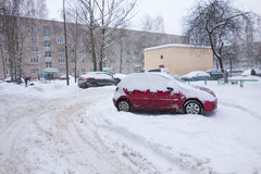 The cyclone Emma in Brisov-city. Borisov, Belarus - January 16, 2016: Natural disasters, snow storm with heavy snow paralyzed the city. Kolaps. Snow covered the Stock Photo