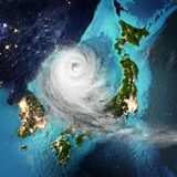 Cyclone weather Japan and Korea. 3D rendering stock image