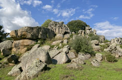 Cyclopean Masonry And Menhirs On The Hills Of Filitosa, Southern Corsica Royalty Free Stock Image