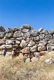 Cyclopean murverk på citadellen av Tiryns, Tiryns, Grekland, Europ fotografering för bildbyråer