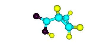 Cyclopropane carboxylic acid molecular structure isolated on white. Cyclopropane carboxylic acid molecule isolated on white background. 3d illustration Stock Images