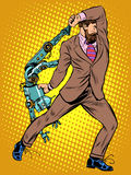 Cyclops businessman against a robot. Pop art retro style. Human vs artificial intelligence Stock Photo