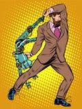 Cyclops businessman against a robot Stock Photo