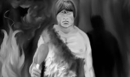 The Cyclops in the Cave Black and white. Conceptual work. A cyclope in the cave baking and eating a roasted pot, wearing an animal fur clothing vector illustration