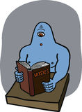 Cyclops reading Ulysses. Blue cyclops reads Ulysses book, surprised Stock Images