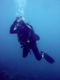 Cyclops scuba diver underwater photography Royalty Free Stock Photos