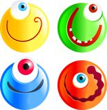 Cyclops smilies. Set of funny cartoon smilie face cyclops emoticons Stock Photo