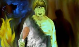 Cyclopsna i den färgrika grottan royaltyfri illustrationer