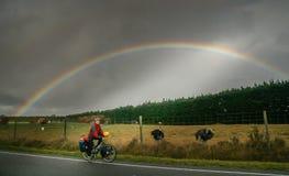 Cyclus het reizen in Nieuw Zeeland stock foto's