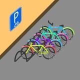Cyclusparkeren met teken op de muur vectorillustratie vector illustratie