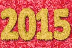 2015 cyfr komponowali złoci lampasy na czerwonym tle fotografia royalty free