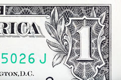Cyfra Jeden od jeden dolarowego U S banknotu zakończenie rr Obraz Stock