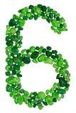 Cyfra sześć zieleni dekoracyjni otoczaki odizolowywający na białym tle Obraz Stock