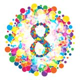 Cyfra 8 w stylu kolorowego punktu wzoru Obraz Stock