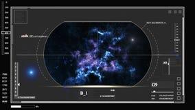 Cyfrowa informacja o kosmosie planeta, diagramy, hologramy, grafika HUD ilustracja wektor
