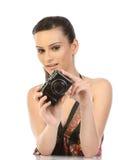 cyfrowa kamery kobieta Obrazy Stock