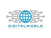 Cyfrowego świat - wektorowa biznesowa loga szablonu pojęcia ilustracja Kula ziemska abstrakta szyldowa i elektroniczna sieć Techn Fotografia Stock