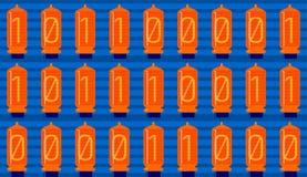 1-0 Cyfrowego Binarny kod, analog lampy, bezszwowe Fotografia Stock